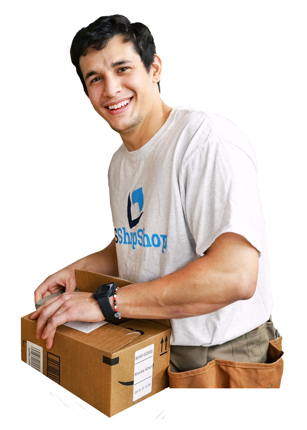 usshipshop employee packaging international shipments